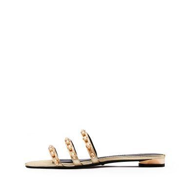 貼膜羊皮平跟圓頭拖鞋