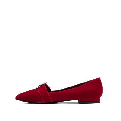 天鹅绒平跟尖头单鞋