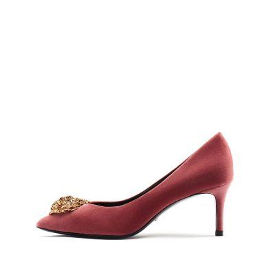 天鹅绒高跟尖头单鞋