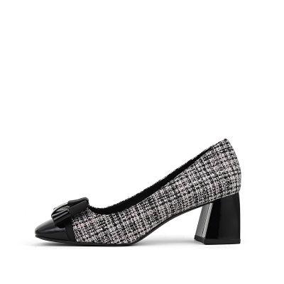 织物高跟方头单鞋