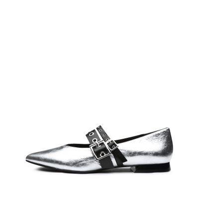 羊皮低跟尖頭單鞋