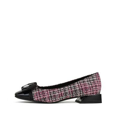 织物方头低跟单鞋
