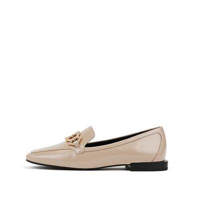 羊皮低跟方头单鞋